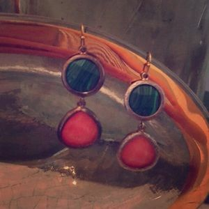 Green and pink statement earrings!